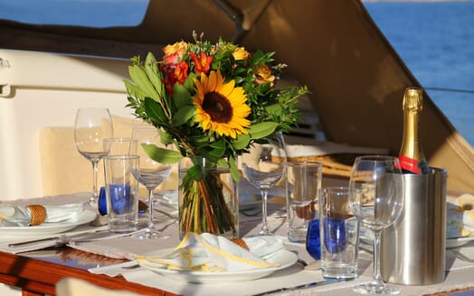 Sailing Yacht CAMILLA OF LONDON Dining Table Detail